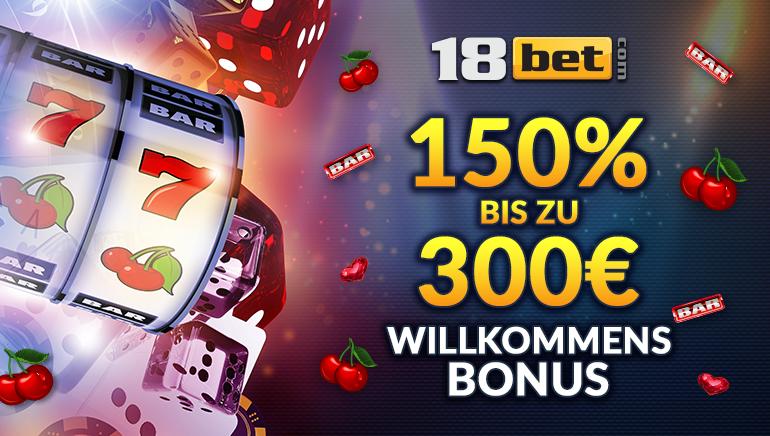 Erhöhter 150 % Willkommensbonus von bis zu 300 € bei 18bet Casino
