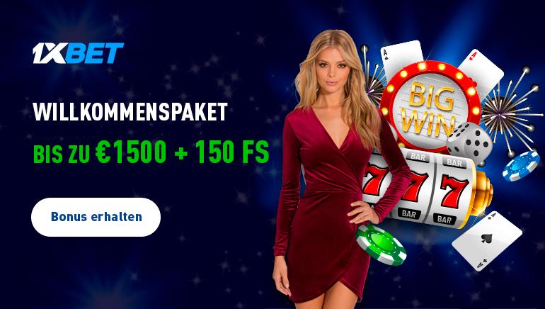 1xBet Casino schenkt 1.500 € Willkommenspaket