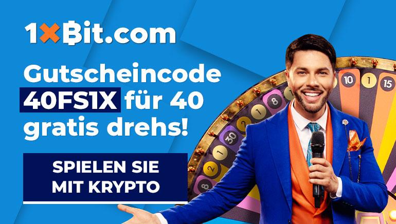 1xBit.com - Gutscheincode 40FSIX für 40 gratis drehs. Spielen sie mit krypto!
