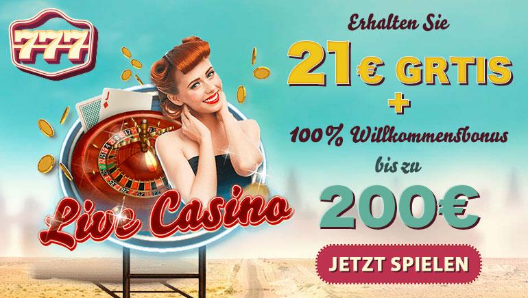 Deutsche Spieler erhalten kostenlos 21 € bei 777 Casino