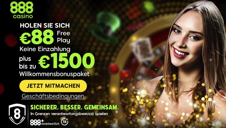 Holen Sie sich 88 € gratis & einen Einzahlungsbonus von bis zu 1500 € im 888 Casino
