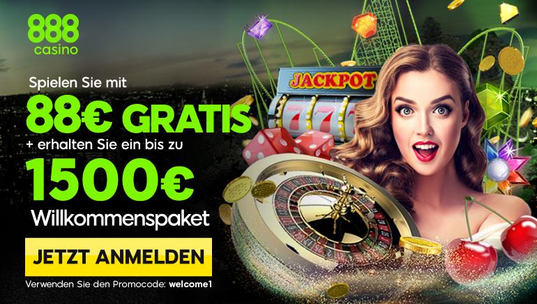 Riesiger 88 € Freispielbonus und 1500 € Willkommenspaket im 888 Casino