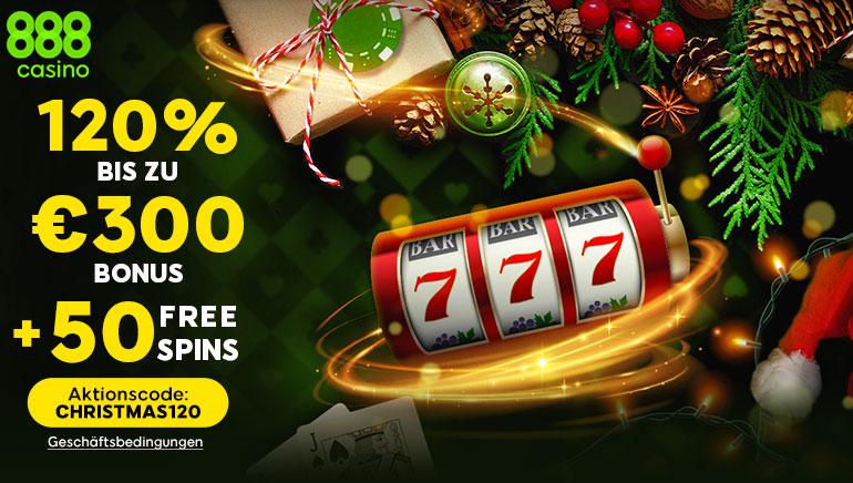 Es weihnachtet bereits im 888 Casino: 120%iger Bonus bis zu 300 € & 50 Freispiele