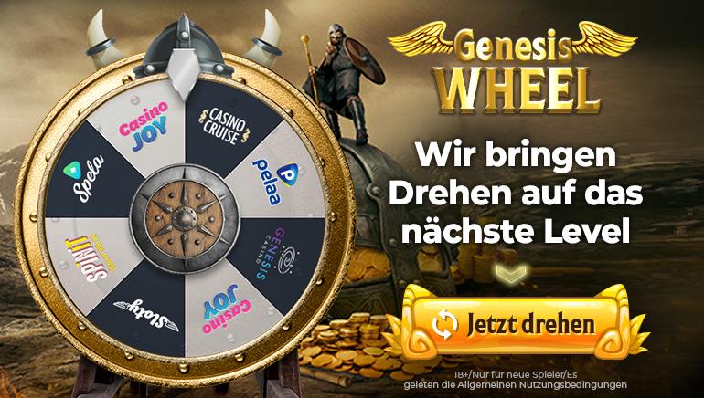 Drehen Sie das Wheel of Genesis für riesige Willkommensangebote
