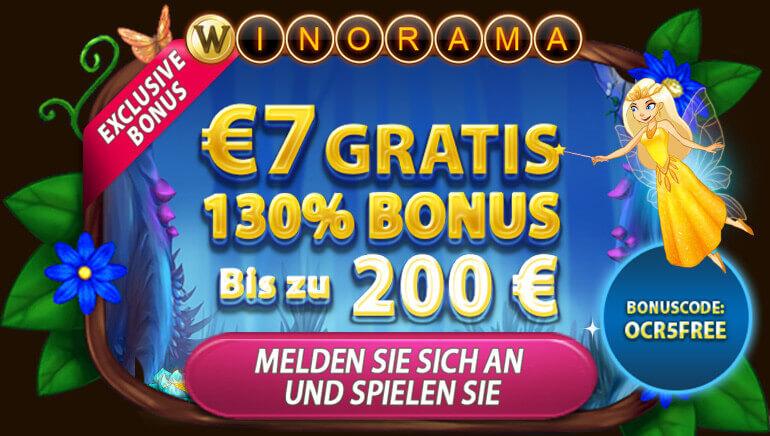 Erhalten Sie 7 € kostenlos + 130 % bis zu 200 € im Winorama Casino