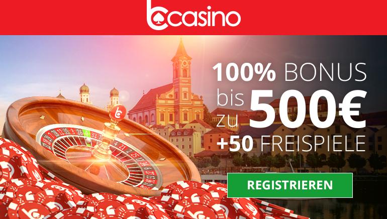 bCasino bietet einen großen 1. Einzahlungsbonus bis zu 500€ und 50 Freispiele