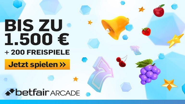 Betfair Arcade Bonus: 1.500 € + 200 Gratis-Spins, um Hunderte von Spielen zu genießen