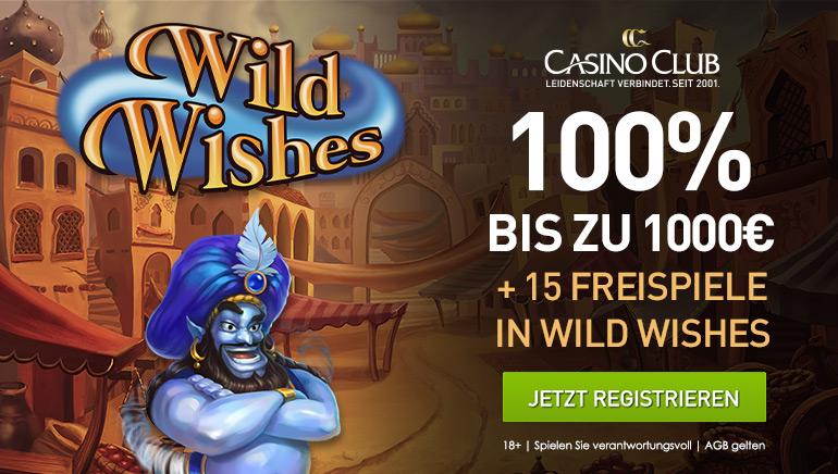 100 % Reload-Bonus bis zu 1000 € und 15 Spins im CasinoClub