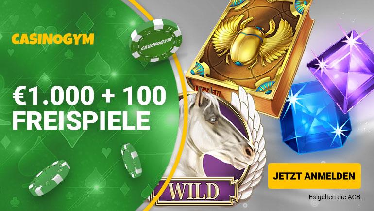 Sichern Sie sich eine Tasche voller Boni bei CasinoGym: Bis zu 1.000 € + 100 Freispiele