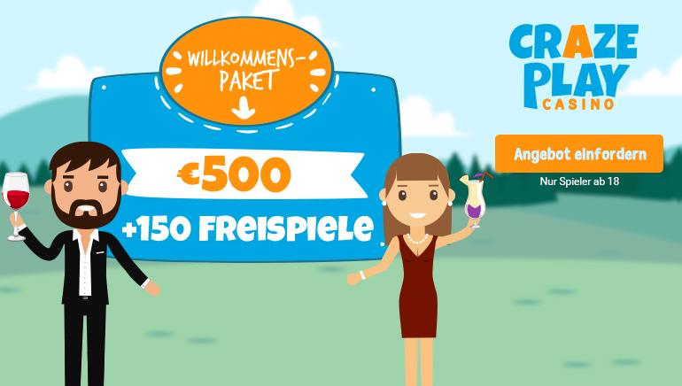Massives Willkommensangebot mit 500 € + 150 Freispiele bei CrazePlay Casino