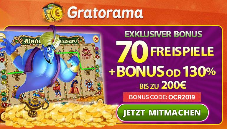 Gewinnen Sie 70 Freispiele und 130% Willkommensbonus bis zu 200€ im Gratorama Casino