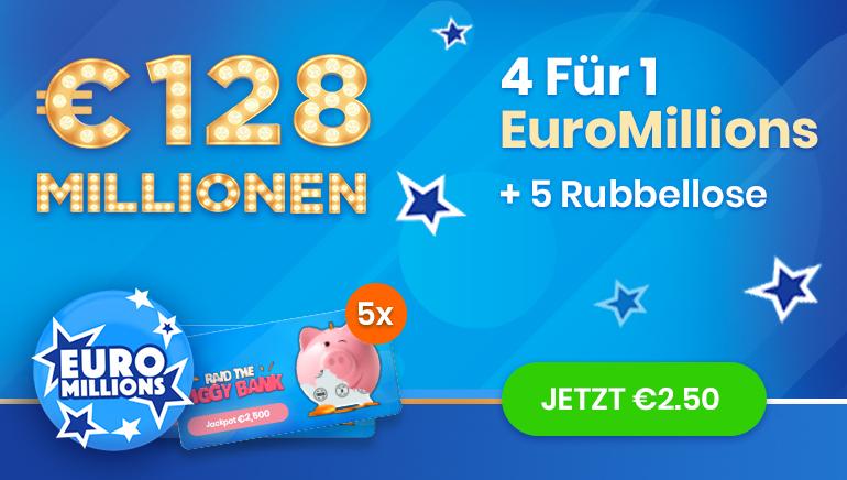 Werden Sie noch heute Mitglied bei Jinni Lotto und erhalten Sie 4 EuroMillionen Tickets zum Preis von einem.
