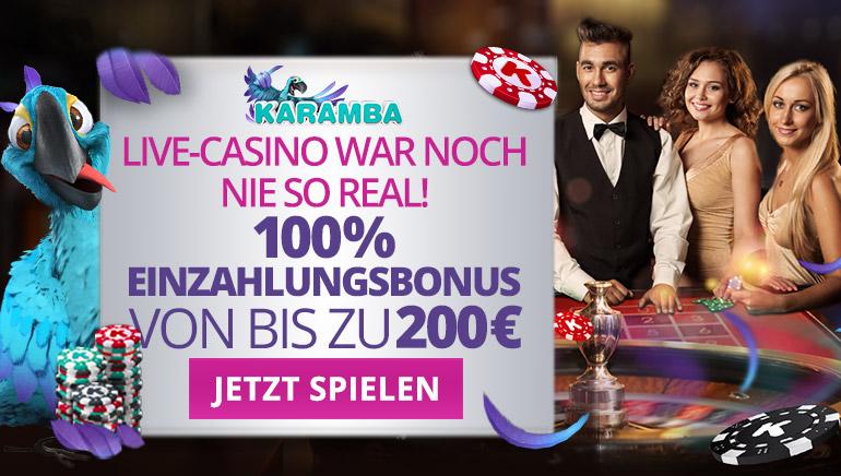 Erleben Sie Live Casino Tische mit dem Karamba Casino Sonderbonus