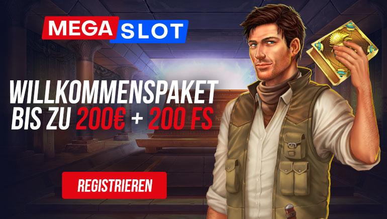 MEGASLOT - Willkommenspaket bis zu €200 +200 freispiele