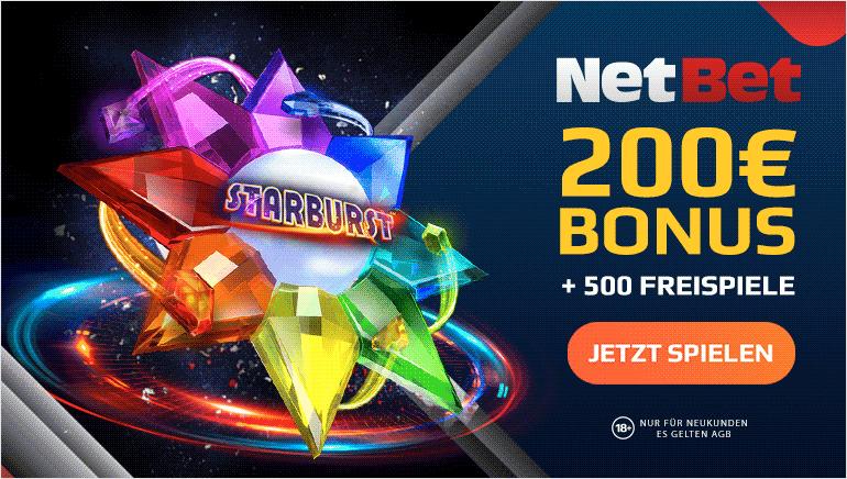 NETBET - 200€ BONUS + 500 FREISPIELE
