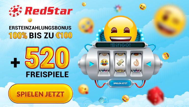 RedStar Casino belohnt Spieler mit 520 Freispielen und 100€ Willkommensbonus
