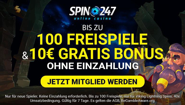 Spin247 Casino - Bis zu 100 Freispiele + 10€ gratis