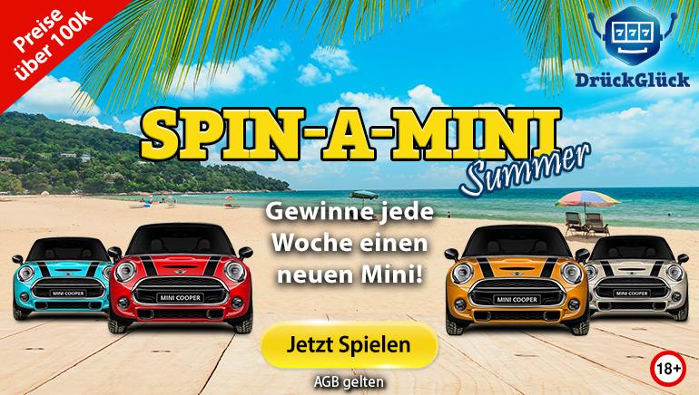 Gewinnen Sie diesen Monat ein brandneues Auto mit Spin-A-Mini im DrückGlück Spielbank