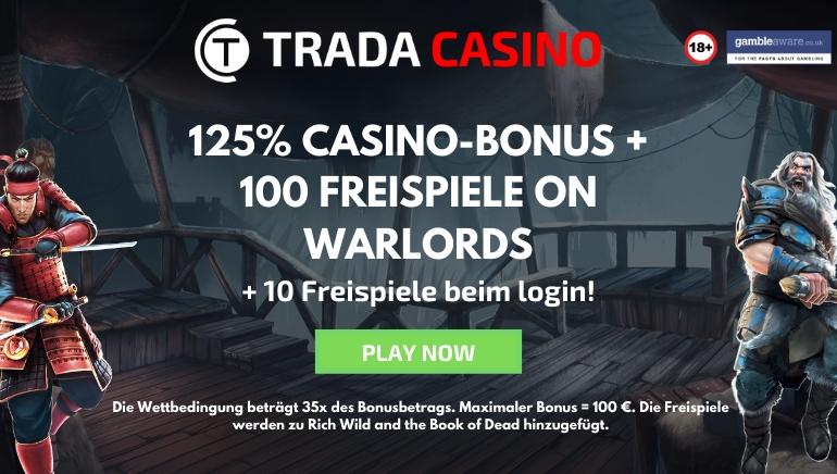 Trada Casino Angebot mit 125 % Bonus & 110 Freispielen für 2020