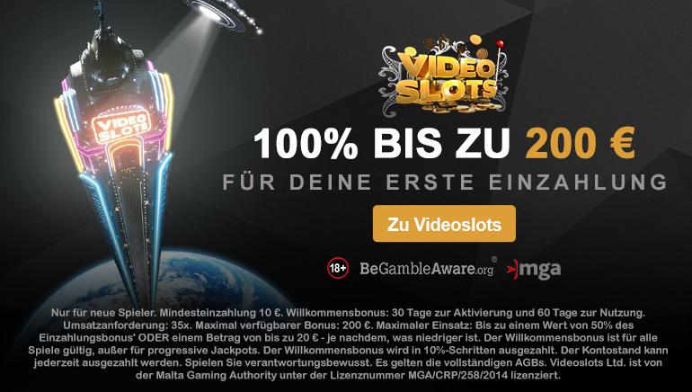Videoslots Willkommensbonus nur für deutsche Spieler - 100% bis zu 200 €!